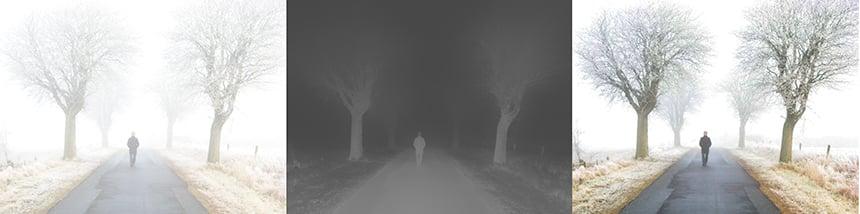 """Links: Vernebelte Momentaufnahme, Mitte: """"Transmission Map"""": Grauwertbild, welches die Lichtdämpfung auf Pixelgenauigkeit repräsentiert, Rechts: Entnebelte Aufnahme"""
